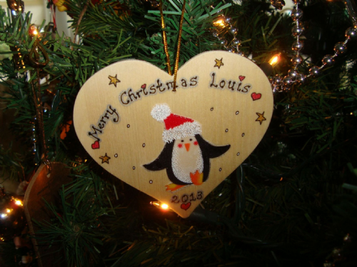 Penguin in Santa Hat Wooden Christmas Heart Hanger Decoration Personalised Handcrafted Unique